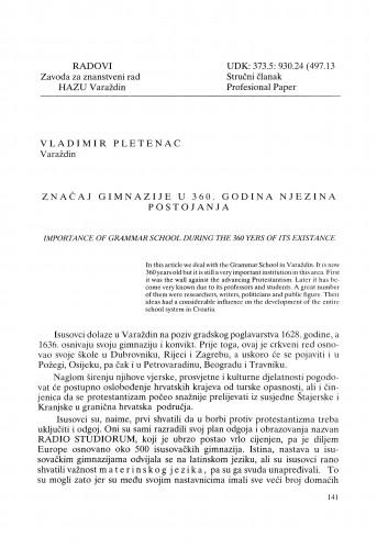 Značaj gimnazije [u Varaždinu] u 360. godina njezina postojanja : Radovi Zavoda za znanstveni rad Varaždin
