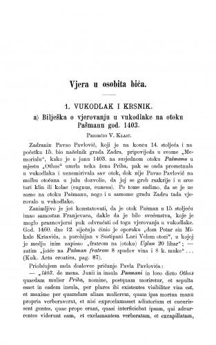 Bilješka o vjerovanju u vukodlake na otoku Pašmanu god. 1403 : vukodlak i krsnik / V. Klaić