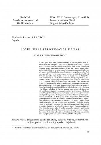 Josip Juraj Strossmayer danas : Radovi Zavoda za znanstveni rad Varaždin