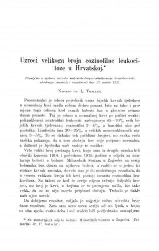 Uzroci velikoga broja eozinofilne leukocitoze u Hrvatskoj