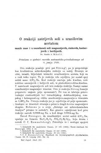 O reakciji natrijevih soli s uranilovim acetatom samih za se i u nazočnosti soli magnezijevih, cinkovih, kadmijevih i berilijevih