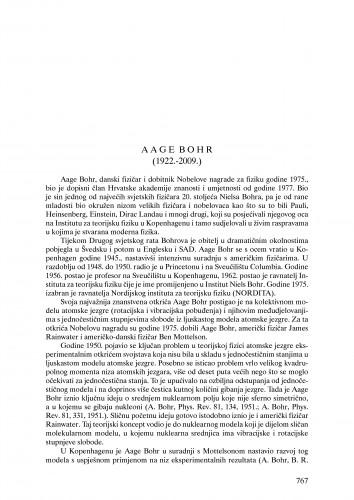 Aage Bohr (1922.-2009.) : nekrolog : Ljetopis