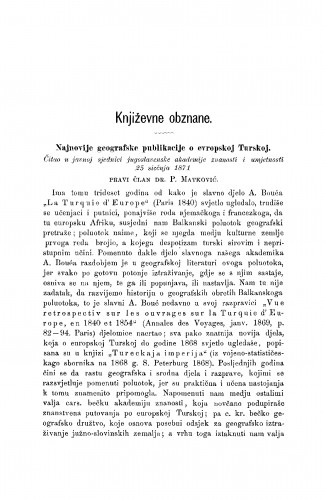 Najnovije geografske publikacije o evropskoj Turskoj : [književna obznana] : RAD