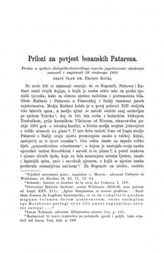Prilozi za povjest bosanskih Patarena / Franjo Rački