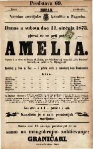 """Amelia Opera u 4 čina / od Ivana pl. Zajca po Schillerovoj tragediji """"Die Rauber"""""""