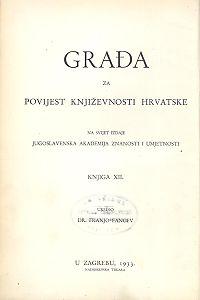 Knj. 12(1933) : Građa za povijest književnosti hrvatske