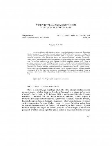 Vrsi pod talijanskom okupacijom u Drugom svjetskom ratu : Radovi Zavoda za povijesne znanosti HAZU u Zadru