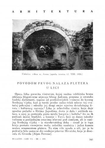 Povodom prvog nalaza pletera u Lici : Bulletin Instituta za likovne umjetnosti Jugoslavenske akademije znanosti i umjetnosti