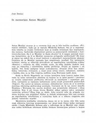 In memoriam Antun Mezdjić : Bulletin Razreda za likovne umjetnosti Jugoslavenske akademije znanosti i umjetnosti