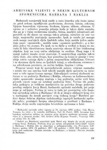 Arhivske vijesti o nekim kulturnim spomenicima Barbana i Raklja : Bulletin Zavoda za likovne umjetnosti Jugoslavenske akademije znanosti i umjetnosti