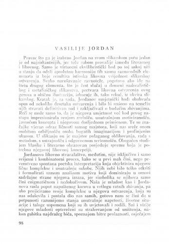 Vasilije Jordan : Bulletin Zavoda za likovne umjetnosti Jugoslavenske akademije znanosti i umjetnosti