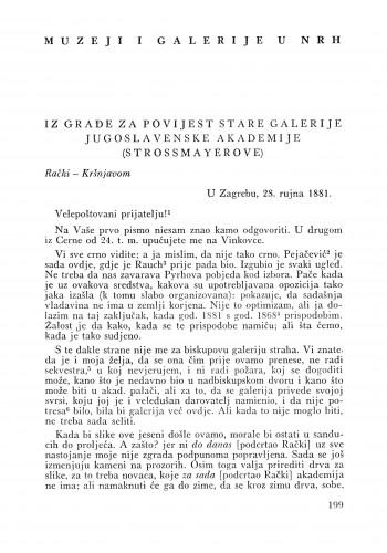 Iz građe za povijest Stare galerije Jugoslavenske akademije (Strossmayerove) : Bulletin Odjela VII. za likovne umjetnosti Jugoslavenske akademije znanosti i umjetnosti