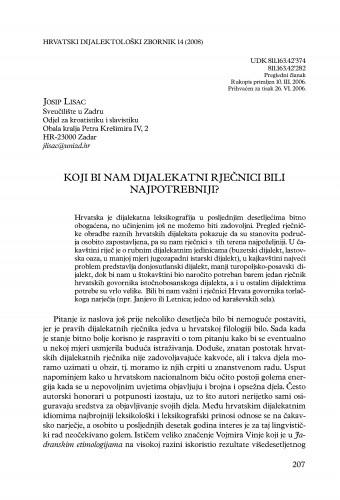 Koji bi nam dijalekatni rječnici bili najpotrebniji? : Hrvatski dijalektološki zbornik