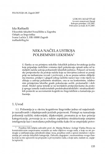 Neka načela ustroja polisemnih leksema : Filologija : časopis Razreda za filološke znanosti Hrvatske akademije znanosti i umjetnosti
