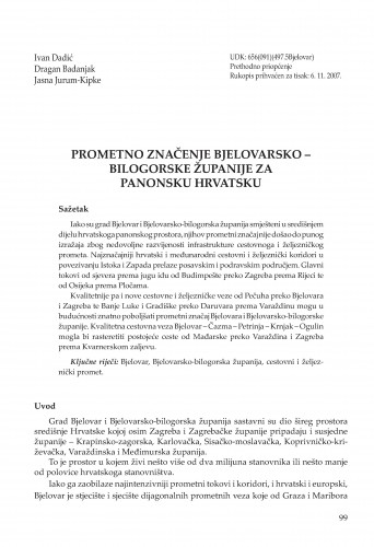 Prometno značenje Bjelovarsko-bilogorske županije za panonsku Hrvatsku : Radovi Zavoda za znanstvenoistraživački i umjetnički rad u Bjelovaru