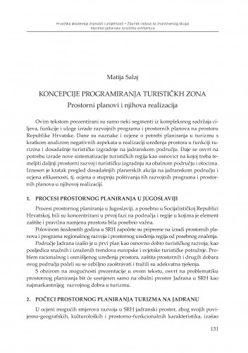 Koncepcije programiranja turističkih zona : prostorni planovi i njihova realizacija