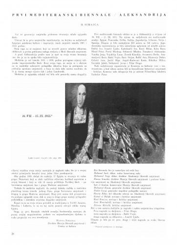 Prvi mediteranski Bienale - Aleksandrija : Bulletin Instituta za likovne umjetnosti Jugoslavenske akademije znanosti i umjetnosti