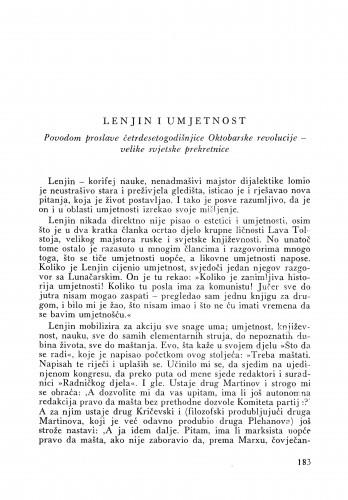 Lenjin i umjetnost : Bulletin Instituta za likovne umjetnosti Jugoslavenske akademije znanosti i umjetnosti