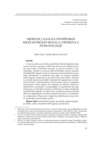 Mjerenje i analiza površinskih mioelektričkih signala i primjena u stomatologiji