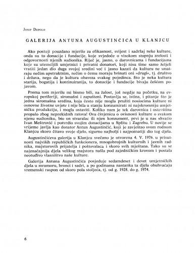 Galerija Antuna Augustinčića u Klanjcu : Bulletin Razreda za likovne umjetnosti Jugoslavenske akademije znanosti i umjetnosti
