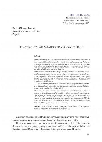 Hrvatska - talac zapadnog Balkana i Turske : Adrias : zbornik Zavoda za znanstveni i umjetnički rad Hrvatske akademije znanosti i umjetnosti u Splitu