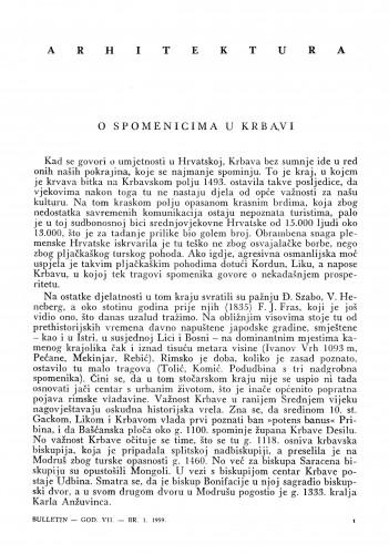 O spomenicima u Krbavi : Bulletin Instituta za likovne umjetnosti Jugoslavenske akademije znanosti i umjetnosti