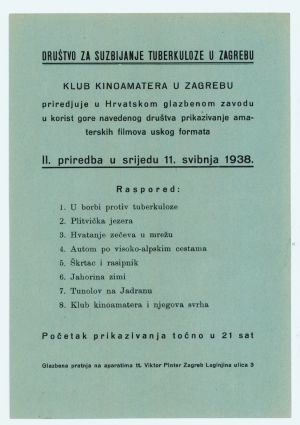 Letak Društva za suzbijanje tuberkuloze. Priredba Kluba kinoamatera od 11. svibnja 1938. godine