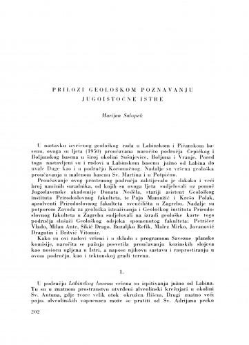 Prilozi geološkom poznavanju jugoistočne Istre / M. Salopek