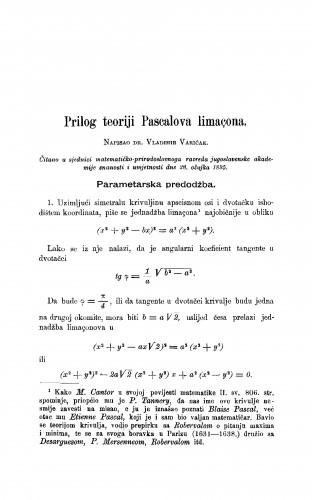 Prilog teoriji Pascalova limaçona