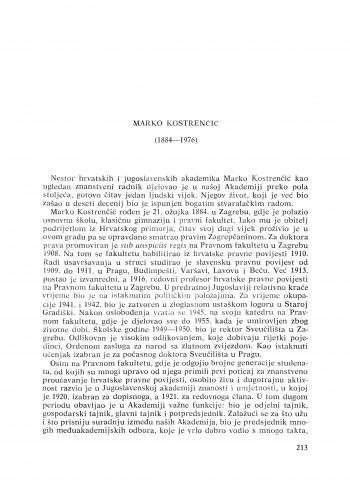 Marko Kostrenčić (1884-1976) : [nekrolozi] / V. Gortan