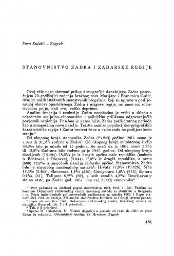 Stanovništvo Zadra i zadarske regije / S. Kulušić