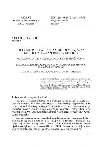 Propovjedaonica franjevačke crkve Sv. Ivana Krstitelja u Varaždinu iz 17. stoljeća : Radovi Zavoda za znanstveni rad Varaždin