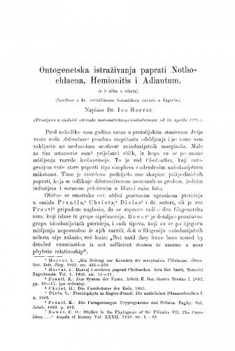 Ontogenetska istraživanja paprati Nothochlaena, Hemionitis i Adiantum