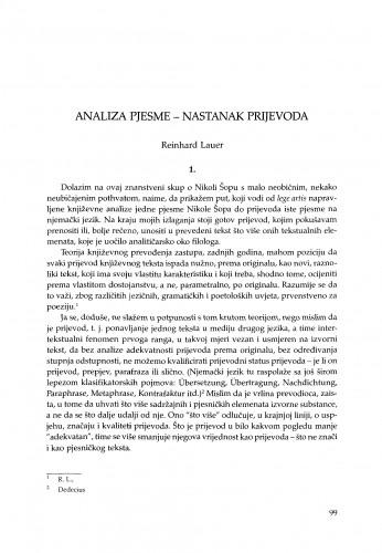 Analiza pjesme - nastanak prijevoda
