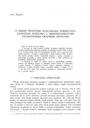 O nekim osnovnim značajkama pokretanja kaznenog postupka u srednjovjekovnim dalmatinskim gradovima