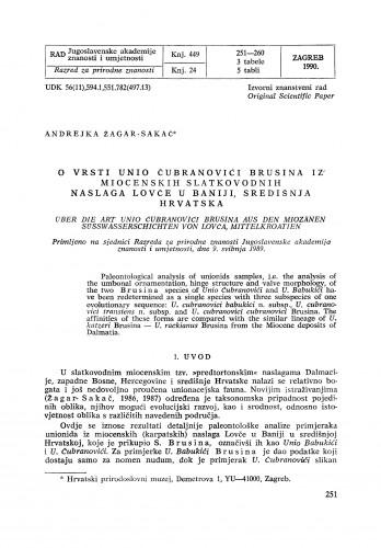 O vrsti Unio Čubranović Brusina iz miocenskih slatkovodnih naslaga Lovče u Baniji, središnja Hrvatska
