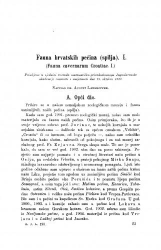 Fauna hrvatskih pećina (spilja). I.