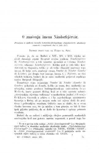 O značenju imena Nándorferjérvár