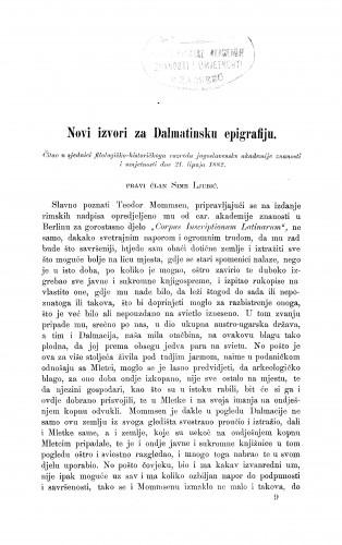 Novi izvori za Dalmatinsku epigrafiju