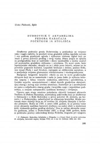 Dubrovnik u akvarelima Fedora Karačaja početkom 19. stoljeća / C. Fisković