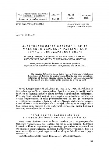 Actinostromaria katzeri n. sp. iz malmskog vapnenca Pakline kod Duvna u jugozapadnoj Bosni