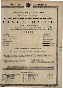 Hänsel i Gretel (Ivo i Marica) Operna priča u tri slike / Glazba od Engelberta Humperdingka