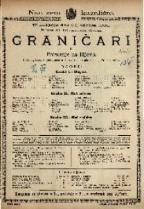 Graničari ili Proštenje na Ilijevo Pučki igrokaz s pjevanjem u 3 razdjela / napisao Josip Freudenreich
