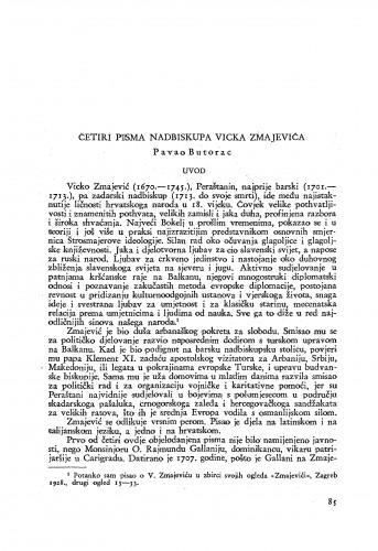 Četiri pisma nadbiskupa Vicka Zmajevića / Vicko Zmajević; priopćio Pavao Butorac