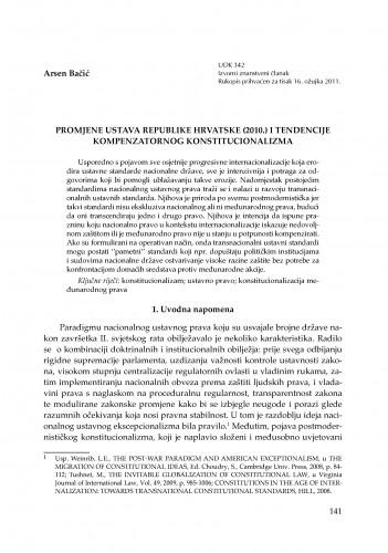 Promjene Ustava Republike Hrvatske (2010.) i tendencije kompenzatornog konstitucionalizma : RAD