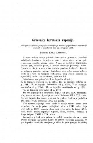 Grbovnice hrvatskih županija / Emilije Laszowski