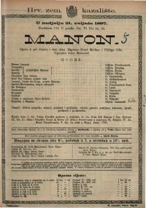 Manon opera u pet činova i šest slika / Uglazbio Jules Massenet