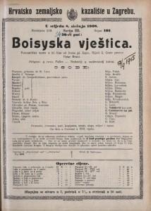 Boisyska vještica romantična opera u tri čina / od Ivana pl. Zajca