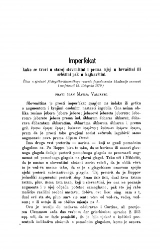 Imperfekat : kako se tvori u staroj slovenštini i prema njoj u hrvaštini ili srbštini pak u kajkavštini : RAD