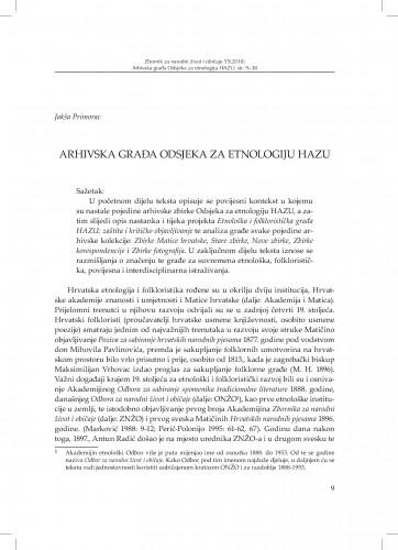 Arhivska građa Odsjeka za etnologiju HAZU / Jakša Primorac